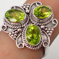 4.87cttw GREEN PERIDOT GEMSTONE 925 STERLING SILVER RING JEWELRY size 7 F3449