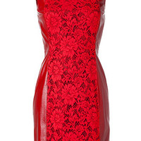 Valentino - Barolo Leather/Lace Dress