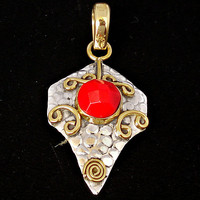 5.18cttw VICTORIAN RED CORAL ROUND 925 STERLING SILVER PENDANT JEWELRY C9076