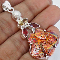 26.32cttw RED MICHIGAN COPPER SPLASH GEMSTONE 925 SILVER PENDANT JEWELRY E9461