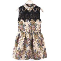 Vintage Floral Pleuche Dress