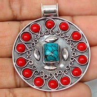 9.83cts BLUE TURQUOISE OCTA CORAL 925 STERLING SILVER PENDANT JEWELRY D6912