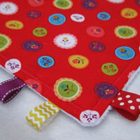 Red Flower Taggie Blanket with Soft White Minky, Ribbons, Lovey Blanket - Baby Girl Blanket