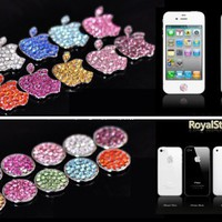 HOT Royalstone Bling Home Button and Logo Sticker for Apple iPhone iPod Case Cover-Silver:Amazon:Cell Phones & Accessories