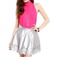 Pleather Laser Cut Skater Skirt in Pewter