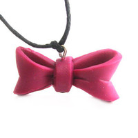 Bow tie necklace pink bow polymer clay charm by Mandyscharms