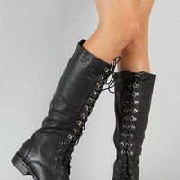 Darren Round Toe Lace Up Military Knee High Boot