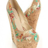 Blush Floral Print Patent Faux Leather.