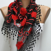 Floral Scarf  Shawl Women&#x27;s Fashion  Shawl Scarf -  Cowl Scarf Red Roses