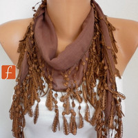 Brown Scarf - Cotton Scarf -  Cowl with  Lace Edge