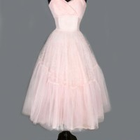 1950's Light Ballet Pink Tulle Party Prom Dress - M VINTAGE PROM & WEDDING DRESSES :