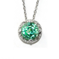 1 Carat Emerald Diamond Pendant .925 Sterling Silver Rhodium Finish White Gold Quality