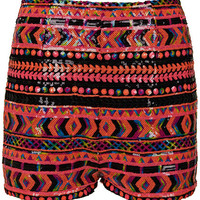 ROMWE | Ethnic Sequined Shorts, The Latest Street Fashion