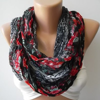 Mothers Day gift Infinity Scarf  Circle Scarf  loop scraf gray/red