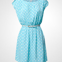 Blue Me Away Polka Dot Dress