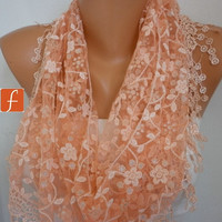 Apricot Scarf  - Lace  Scarf - Cowl Scarf  with Lace Edge Women's Fashion Shawl Scarf   - fatwoman