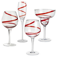 Red Spiral Stemware