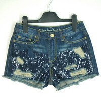 [grhmf2600064]Fahion Sequins Dark Blue Denim Shorts