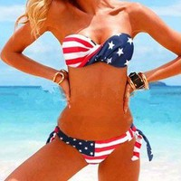 US Stars Stripe Flag Strapless Padded Bikini Bathing Suit