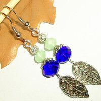 BUY 4 choose 1 FREE..Charm leaf crystal bead affordable earrings fall autumn chic dangle natural earrings-mother day gift