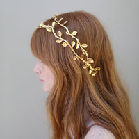 Bridal hair vine grecian inspired headband  Gilded by myrakim