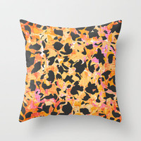 Camouflage #4 - Orange Throw Pillow by Ornaart