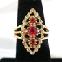 Splendid SARAH COVENTRY Ruby Rhinestone Ring, Adjustable Size 7