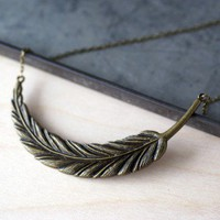 Handmade Gifts | Independent Design | Vintage Goods Goddess Feather Necklace - Bronze - Jewelry - Girls