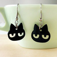 Handmade Gifts | Independent Design | Vintage Goods Grumpy Kitty Earrings - Jewelry - Girls