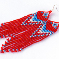 Blue White Red Earrings. Native American Beaded Earrings Inspired. Dangle Long Earrings. Shoulder Dusters. Beadwork