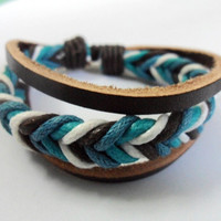 Soft Leather and Cotton Ropes Woven Cuff Bracelet by braceletcool