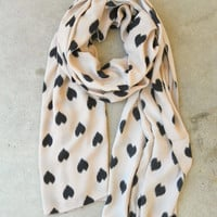Sketched Hearts Scarf in Taupe [3325] - $14.40 : Vintage Inspired Clothing & Affordable Summer Frocks, deloom | Modern. Vintage. Crafted.
