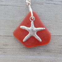 Fire Orange Sea Glass Necklace Starfish Charm