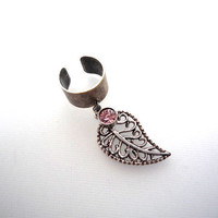 Silver Ox Plated Ear Cuff With Filigree Leaf And Rhinestone - A90