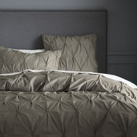 Organic Cotton Pintuck Duvet Cover + Shams - Soot