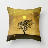 Lone tree II Throw Pillow by Viviana González