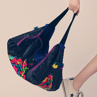 Embroidered Pyramid Shape Tote - Embi Bags