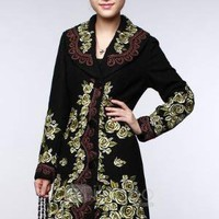Black Euramerican Woolen Cloth Women's Coat