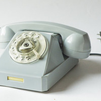 Soviet office telephone, light grey/blue bakelite, vintage telephone roto dial working