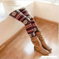 Multi-Colored Women&#x27;s Soft Knitted Stripe Snowflakes Leggings Tights Gift W011:Amazon:Toys &amp; Games