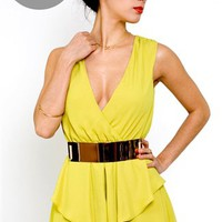 Keepsake Be Happy Playsuit- Chartreuse Playsuits- $130