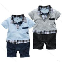 Boy Baby Formal Suit Romper Pants 0-18M One-piece Jumpsuit Clothes
