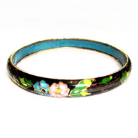 Black Cloisonne Enamel Flower Bangle Bracelet