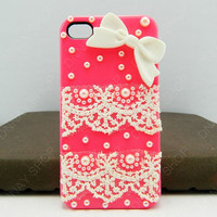 Fashion Lace With Bows cover for iphone 4/4s/5