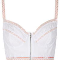 Broderie Zip Front Bralet - Lingerie &amp; Sleepwear  - Clothing