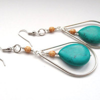 Turquoise Drop Earrings by OliveTreeHandmade on Etsy