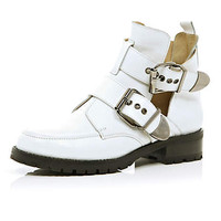 White cut out biker boots