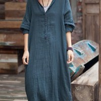 Front Buttons Long Linen Dress Front Buttons Long Linen Dress gift for her - $69.00 : Original Fashion in Comfortable Fibers - Organic Cotton, Linen, Silk, Cashmere, Bamboo and More | Zeniche.com