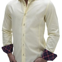 Stone Rose Limited Edition Yellow Long Sleeve Luxury Shirt for Men - Chic MM41