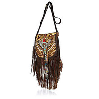 Brown embellished fringed cross body bag